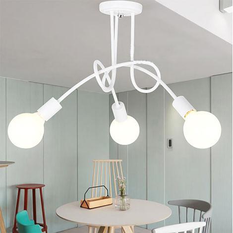 3 Head Vintage Ceiling Light Industrial Chandelier Lamp Retro Pendant Light with E27 Lamp Socket for Living Room Dining Room Bar Hotel Restaurant,white