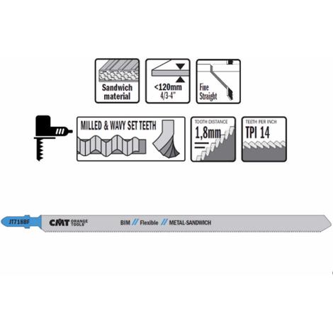 3 hojas de sierra de calar de HSS para metales y paneles sandwich 185x1.8x14tpi CMT