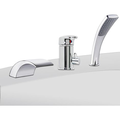 3 hole set bathtub faucet bath rim tap chrome faucet waterfall hand shower
