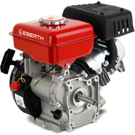 3 HP 2 kW Petrol Engine Standing Engine Kart Engine Drive Engine Exchange Engine (16 mm Ø Shaft, Low Oil Level Indicator, 1 Cylinder Petrol Engine, 4-Stroke, air Cooled, Cable Start) red