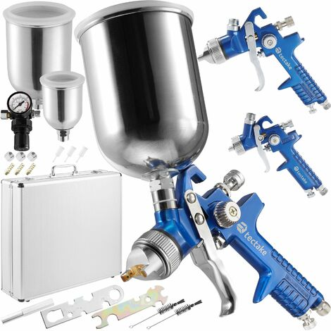 3 HVLP paint spray guns (0.8 + 1.3 + 1.7 mm) + case - paint spray gun, spray gun, paint gun - blue