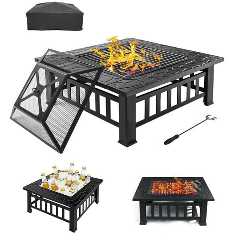 3 in 1 BBQ Grill Fire Pit Brazier Square Table Stove Patio Heater 81X81X47cm W/ Protective Cover