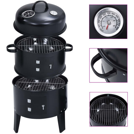 """main image of """"3-in-1 Charcoal Smoker BBQ Grill 40x80 cm32722-Serial number"""""""