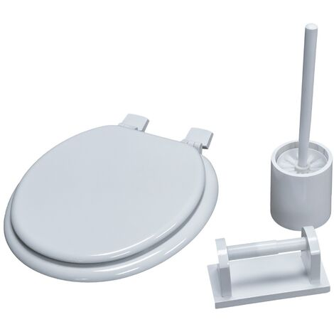 3 in 1 Classic Oval Shaped Design White Toilet Seat, Paper Holder and Pine Brush Holder