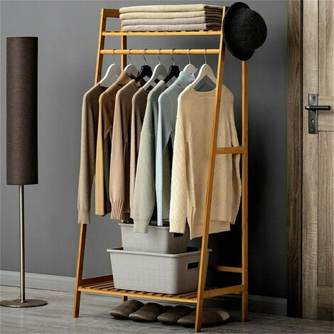 3 in 1 Clothes Stand/Rail with 2 Shelves Wooden Multifuctional Garment Coat Rack