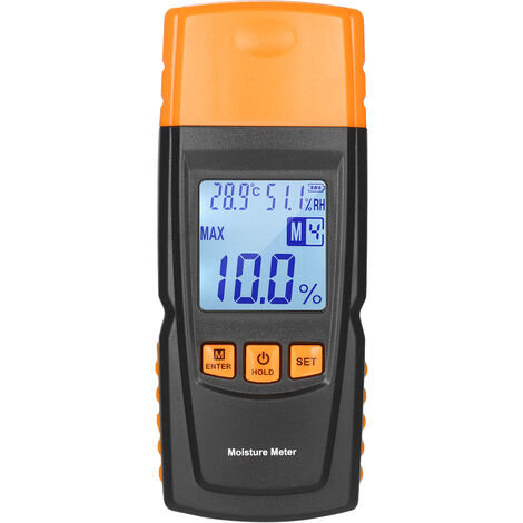 """main image of """"3-in-1 Digital Wood Moisture Meter Firewood Water Content Analyzer Ambient Temperature+Humidity+Wood Moisture Tester with Backlight for Woodworking Lumber Timber,model: Type 1"""""""