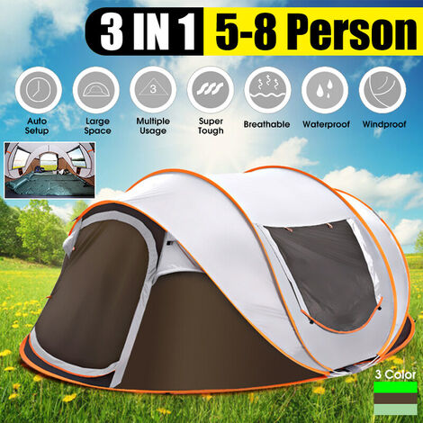 [3 IN 1, for 5-8 people] UV ??resistance waterproof in two sizes Automatic installation Large camping tent Sun shelters for outdoor hiking Fishing Travel Beach (cafe, 5-8 people)