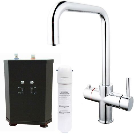 3 in 1 Instant Boiling Water Hot Cold Water Angular Kitchen Tap Filter & Tank