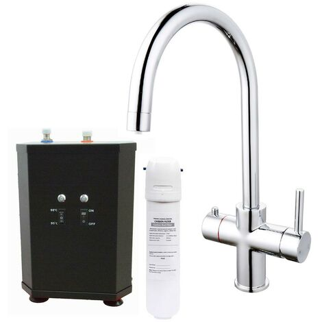 3 in 1 Instant Boiling Water Hot Cold Water Curved Kitchen Tap Filter & Tank