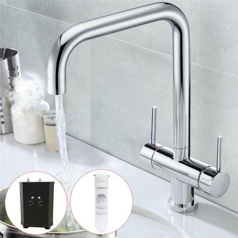 3 in 1 Instant Boiling Water Hot Cold Water Twin Lever Kitchen Tap Filter & Tank