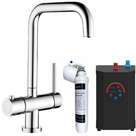 3 in 1 Instant Hot Cold Boiling Water Angular Kitchen Tap Filter Tank Chrome