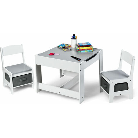 3 IN 1 Kids Activity Table Chairs Set Double Side Tabletop Desk Wood Furniture Grey
