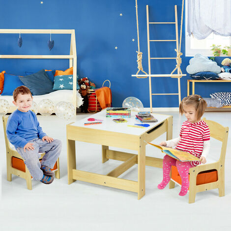 3 IN 1 Kids Activity Table Chairs Set Double Side Tabletop Desk Wood Furniture Nature