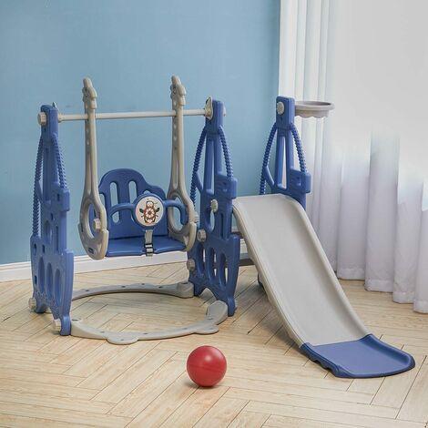 3-in-1 Kids Garden Climber Slide and Swing Set Basketball Hoop Children Playground,Blue