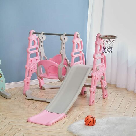 3-in-1 Kids Garden Swing Slide & Climber Set Basketball Hoop Children Playground,Blue