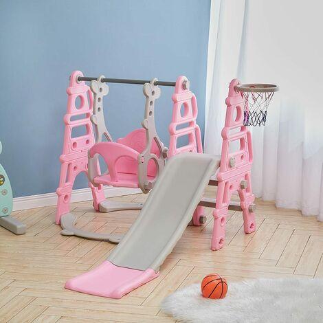 3-in-1 Kids Garden Swing Slide & Climber Set Basketball Hoop Children Playground,Pink