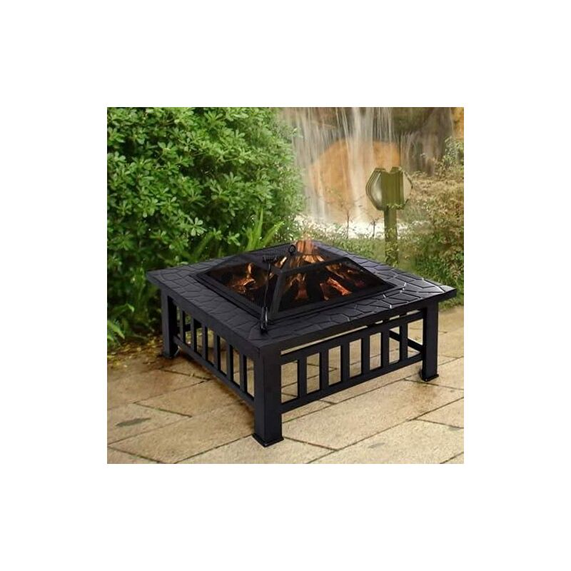 3 In 1 Large Black Square with BBQ Grill Garden Fire Pit Wood Burner Patio