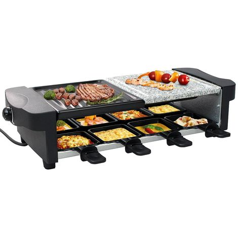 3 in 1 Raclette Grill, Natural Stone Grill Set, Negro, Tamaño: 52 x 20,5 x 12,8 cm