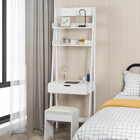 Vanity Set w// Flip Top Mirror Home Dressing Table Set 3 Hook /& 2 Storage Shelf