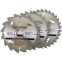 3 lames scie circulaire TCT 16, 24 et 30 dents - 160 x 30 - bague de réduction de 20,16,10 mm