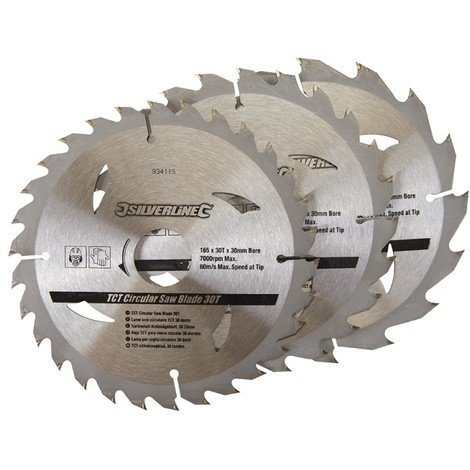 3 lames scie circulaire TCT 16, 24 et 30 dents - 165 x 30 - bague de réduction de 20,16,10 mm