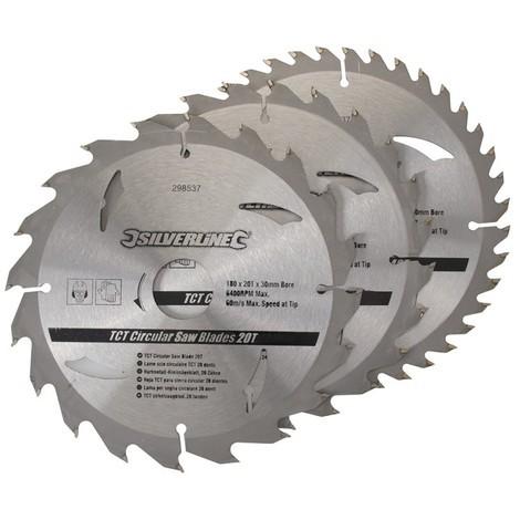 3 lames scie circulaire TCT 20, 24 et 40 dents - 180 x 30 mm - bague de réduction 20 ,16 mm
