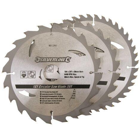 3 lames scie circulaire TCT 20, 24 et 40 dents - 184 x 30 mm - bague de réduction 20 ,16 mm