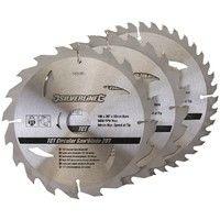 3 lames scie circulaire TCT 20, 24 et 40 dents - 190 x 30 mm - bague de réduction 25, 20 mm
