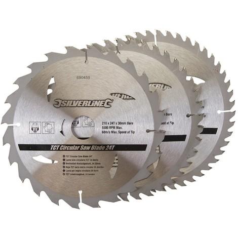 """main image of """"3 lames TCT pour scie circulaire 24, 40, 48 dents - 210 x 30 mm - bagues de 25 et 16 mm"""""""