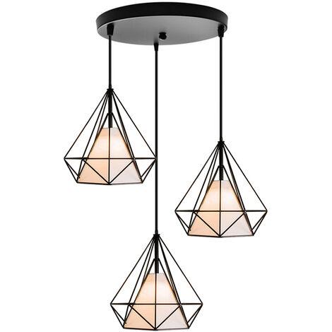 3 Lamp Holders Chandelier,Retro Pendant Light Vintage Hanging Light Metal Iron Pendant Lamp Diamond Cage Ceiling Light 25cm Black