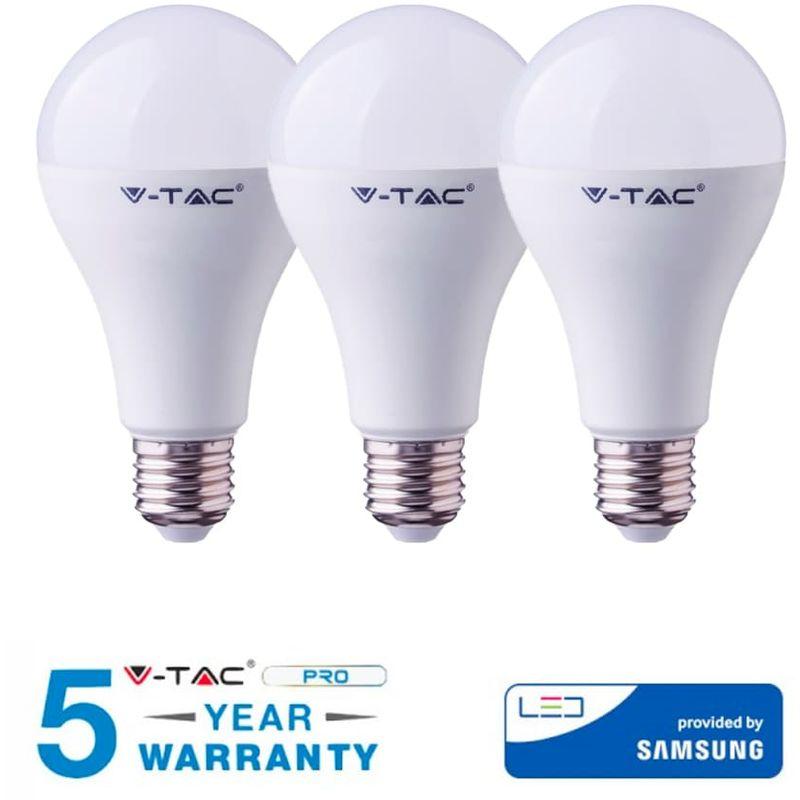 3 LAMPADINE LED V-TAC SAMSUNG E27 20W CALDA FREDDA NATURALE VT-233-Fredda