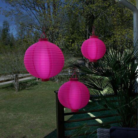3 lámparas de luz rosadas en las baterías