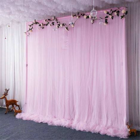 3 Layer 2m Pink Tulle Ice Silk Backdrop Curtain for Wedding Birthday Party