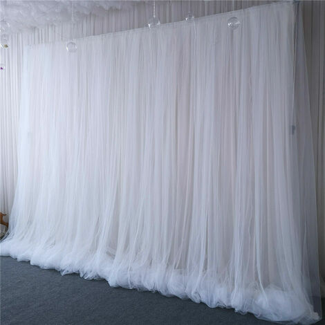 3 Layer 2m White Tulle Ice Silk Backdrop Curtain for Wedding Birthday Party