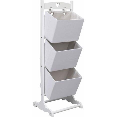 3-Layer Basket Rack White 35x35x102 cm Wood