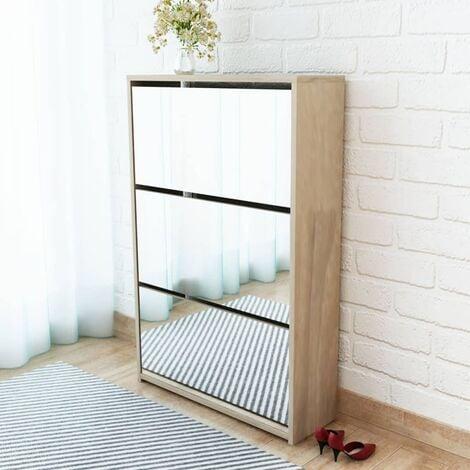 3-Layer Mirror 9 Pair Shoe Storage Cabinet by Ebern Designs - Brown