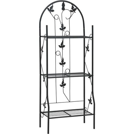 3-Layer Plant Rack Black 52x28x128 cm Iron