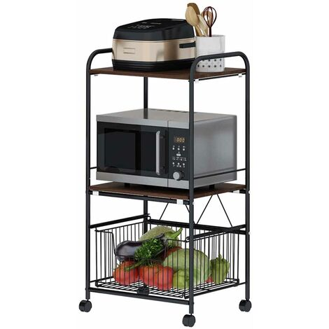 3-layer Storage Rack Kitchen Dish Cabinet 110*37*50cm Black Movable Floor-Standing Shelf