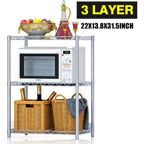 3 Layer Wire Metal Kitchen Storage Rack Microwave Shelf Home Bathroom Organizer 56*35*80cm Silver Grey
