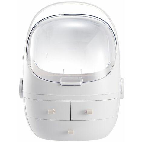 3 Layers Cosmetic Makeup Organizer Storage Dustproof Jewelry Showcase White LAVENTE