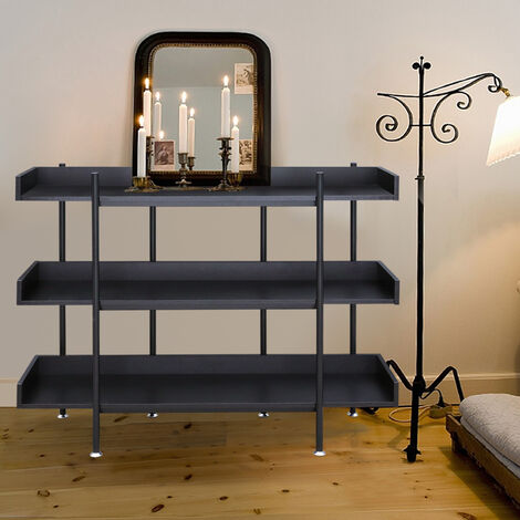 3 Layers Floor Standing Rack Bordered Shelf Wooden Racking Shelving Plant Stand, Black