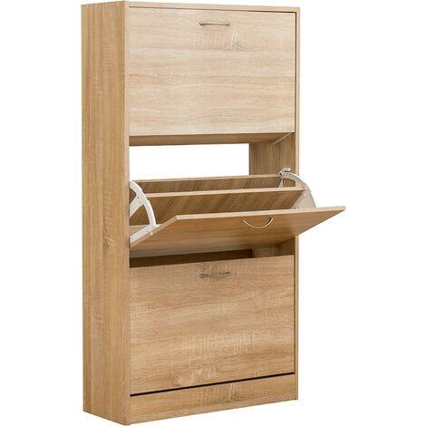 3-Level Wooden Shoe Cabinet Cupboard Shoe Storage Unit Footware Organiser Unit