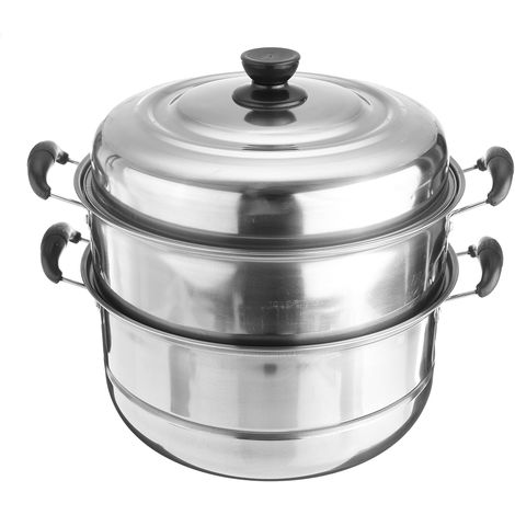 3 Levels 30 Cm Stainless Steel Steam Cooker Steam Cooker Pan Cook Food Veg Pot Set