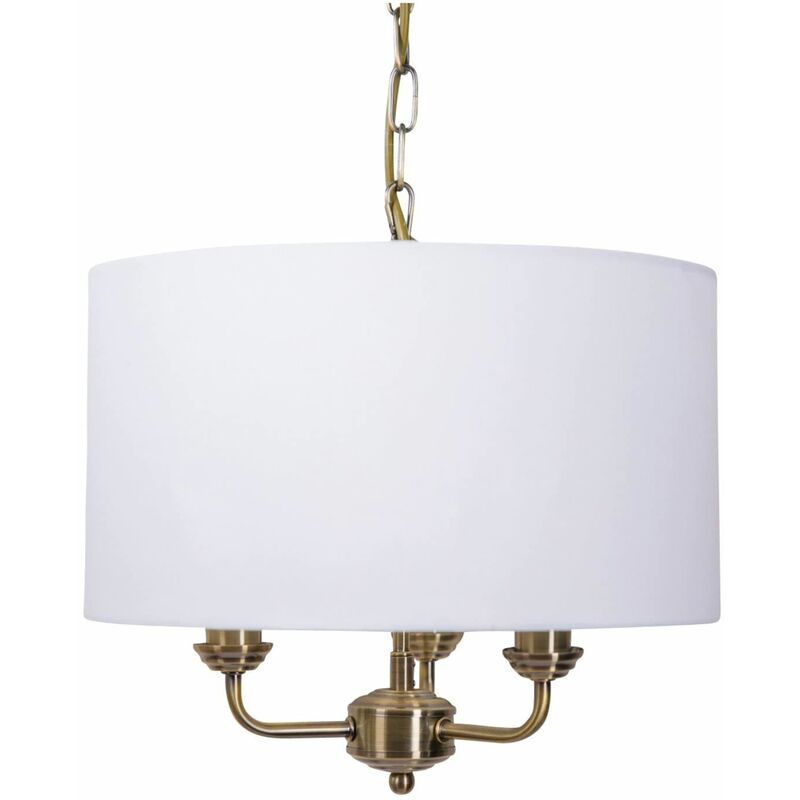 3 Light Antique Brass Pendant Chandelier with Grey Fabric Shade