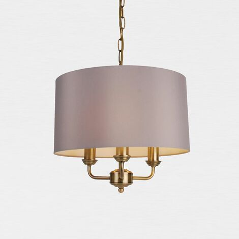 3 Light Antique Brass Pendant Chandelier with Grey or Cream Fabric Shade