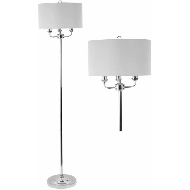 Image of 3 Light Chrome Floor Standard Light with Grey Fabric Shade - FIRST CHOICE LIGHTING