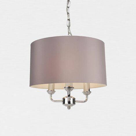 3 Light Chrome or Antique Brass Pendant Chandelier W/ Grey or Cream Fabric Shade