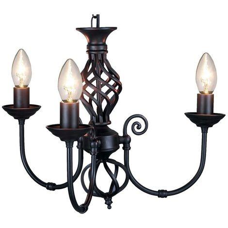 3 Light Classic Black Knot Twist Ceiling Light Black