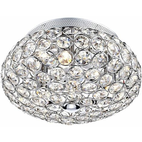 3-light crystal and polished chrome Frost ceiling light