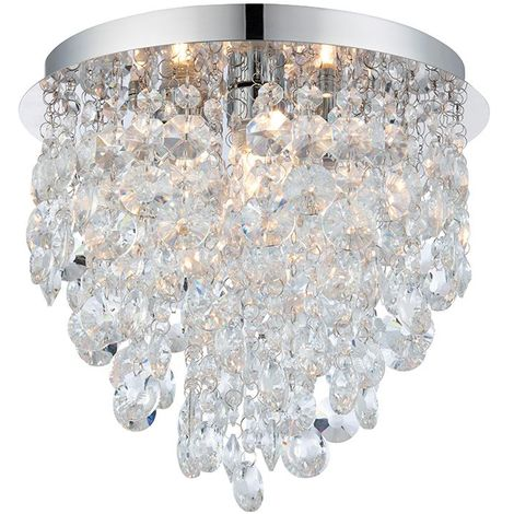 3 Light Flush Clear Crystal and Steel Chrome Plate Chandelier